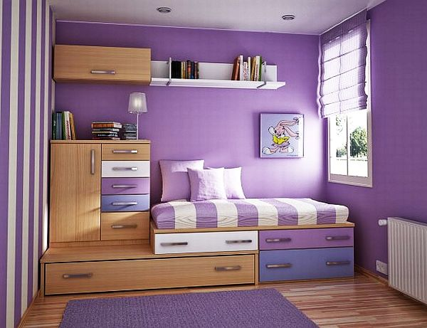 Space Efficient Bedroom Design For Teenage Girl in Purple