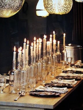 4. Use old bottles and candles for a beautiful table setting