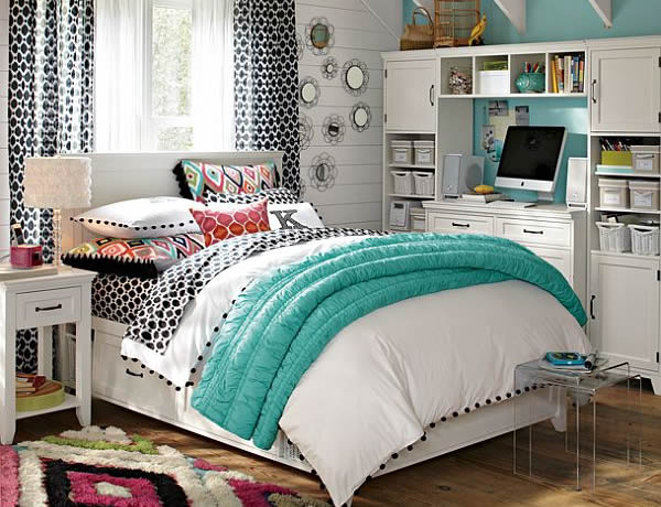 Popular Teal White and Simplicity Empowering a Young Girl Bedroom