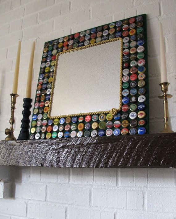 beautiful mirror frame decorated with bottle caps