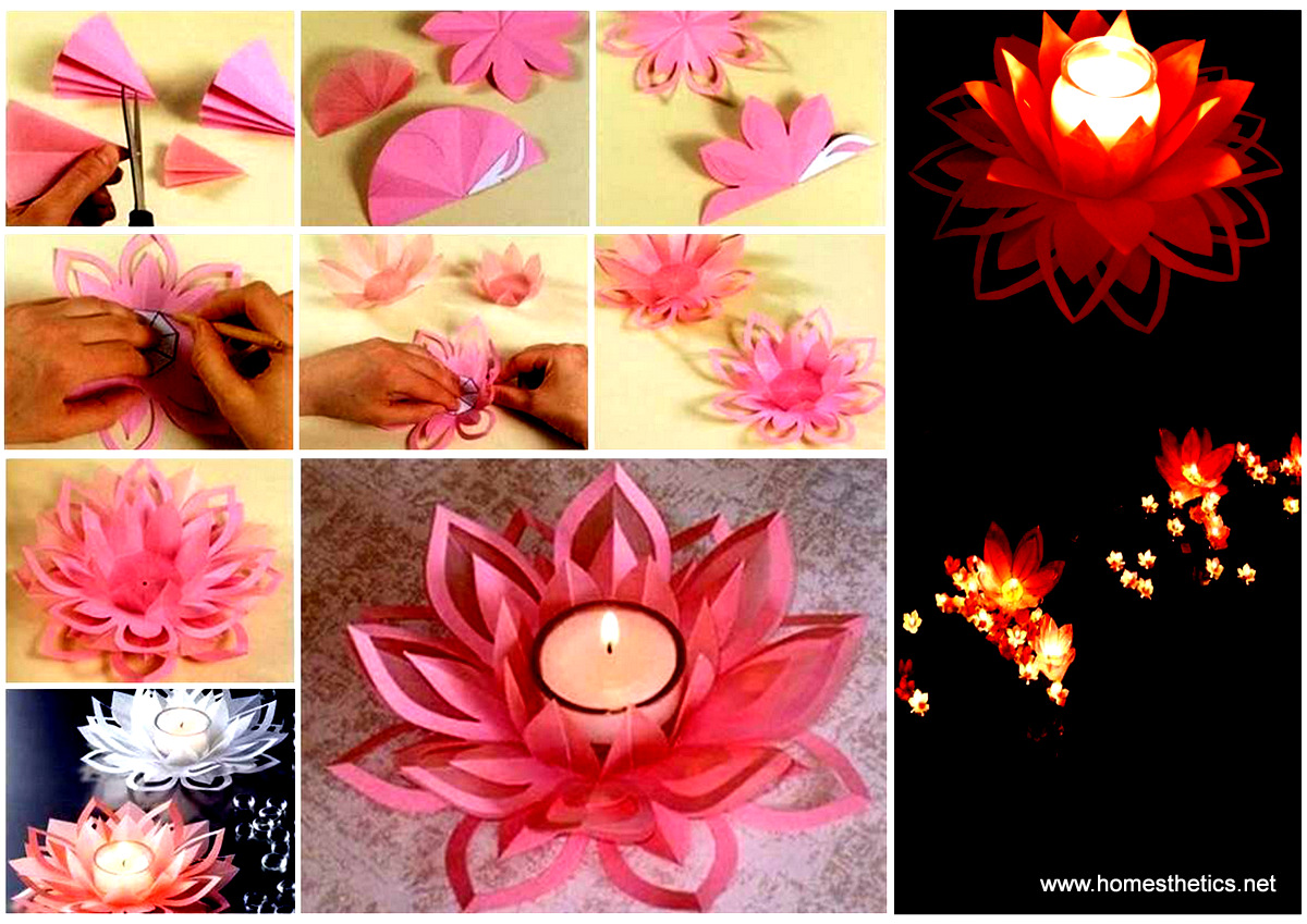 Creative diy paper lotus candlestick project video included mightylinksfo