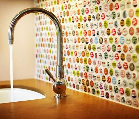 super cool bottle cap backsplash in airy kitchen decor