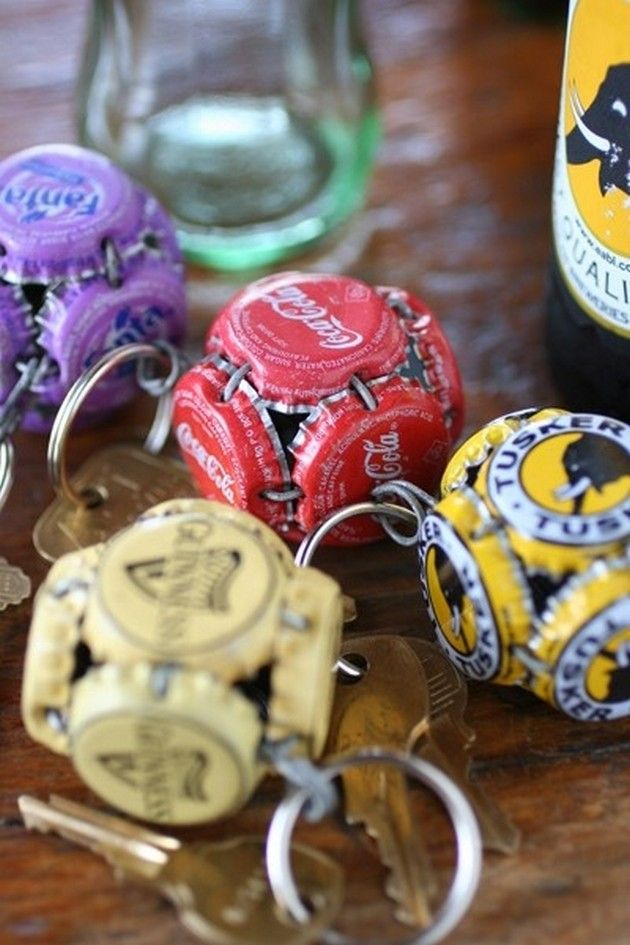 creative key-rings decorated with bottle caps