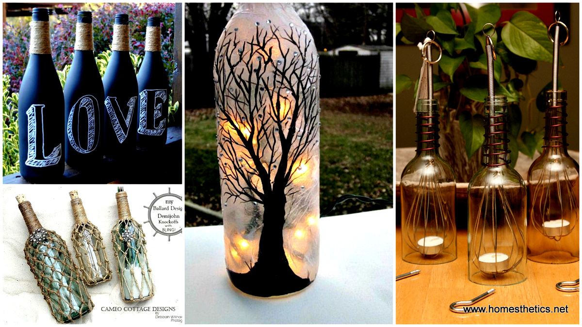 Marvelous Wine Bottle Crafts Part - 6: 20 Wine Bottle Projects You Can Start Anytime