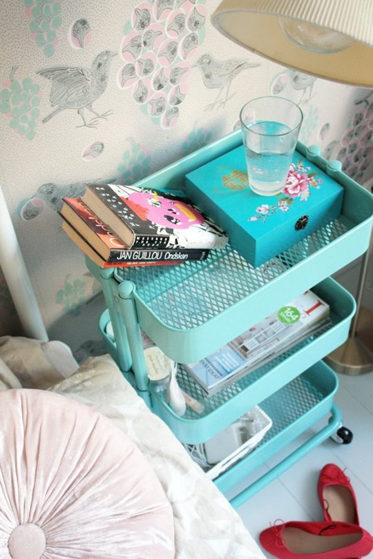 Teal Metallic Cart Upcycled Into Night Stand