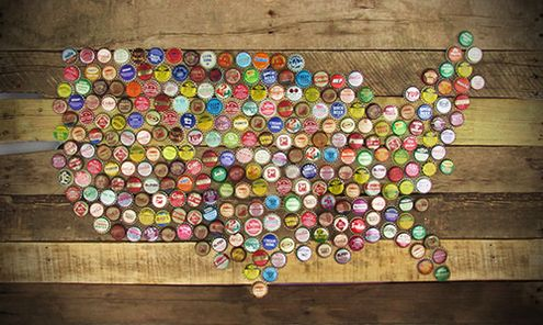 Bottle Cap Arts Map Of USA