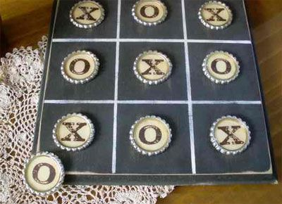super cool bottle cap crafts X O game