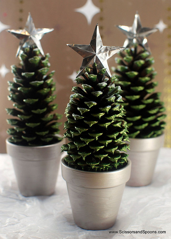 Green Painted Pinecone Trees in a Pot