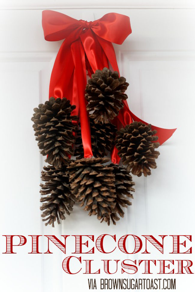 simple pinecone door ornament welcoming guests - How To Decorate Pine Cones For Christmas Ornaments