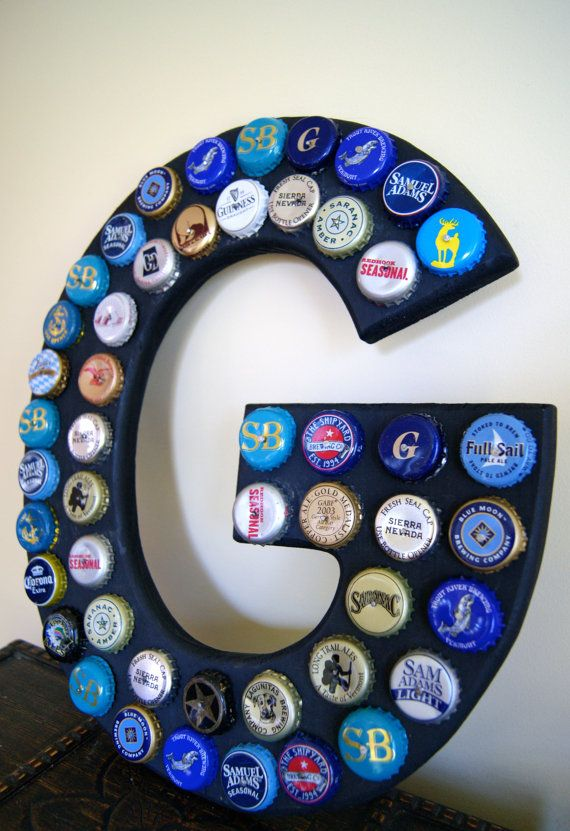 create letters as bottle cap arts and crafts