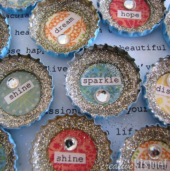 get creative with sparkling bottle cap crafts