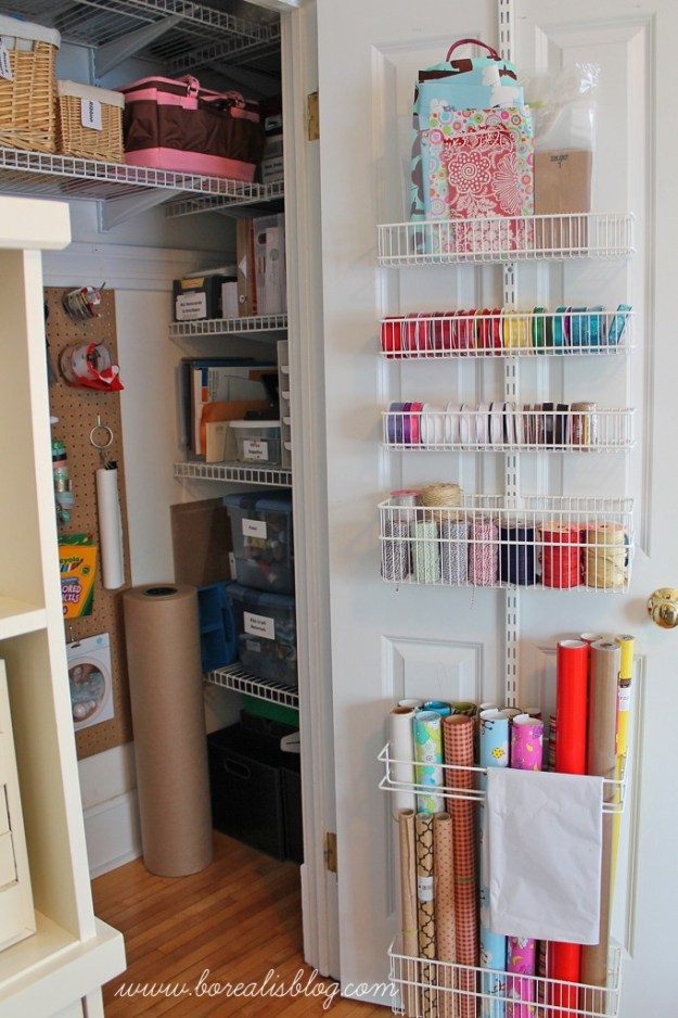 Transform And Reorganize Your Unused Closet And Think Outside The  Box Organize The Doors And Store Your Wrapping Necessities On It