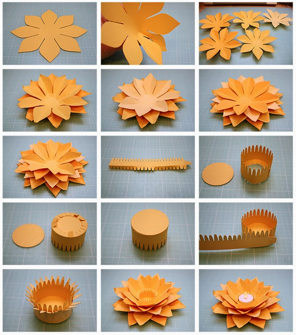 Creative Diy Paper Lotus Candlestick Project Video Included