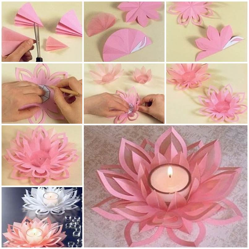 Creative diy paper lotus candlestick project video included diy paper lotus candlestick homesthetics 5 mightylinksfo
