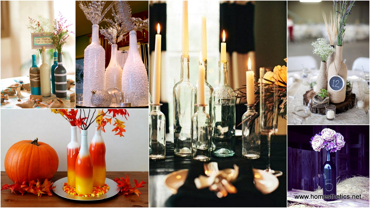 24 dazzling diy wine bottle centerpieces ideas for Wine bottle ideas for weddings