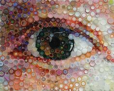 bottle cap art portraying a human eye, great detail obtained through overlapped caps of different colors.