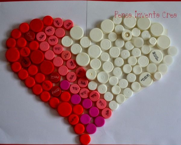 heart shaped bottle carp art piece 35 Fun Ways Of Reusing Bottle Caps
