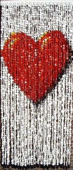 heart shaped bottle cap curtain 35 Fun Ways Of Reusing Bottle Caps