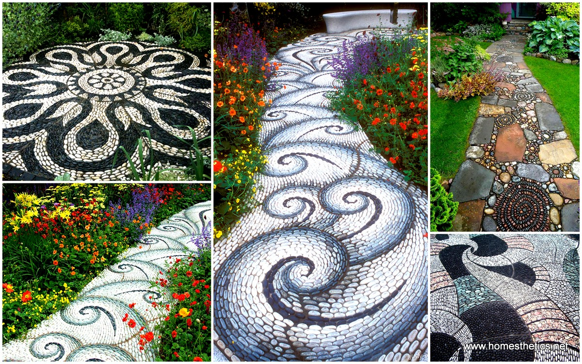 Backyard Landscaping Ideas-15 Magical DIY Pebble Paths ... on Pebble Yard Ideas id=51075