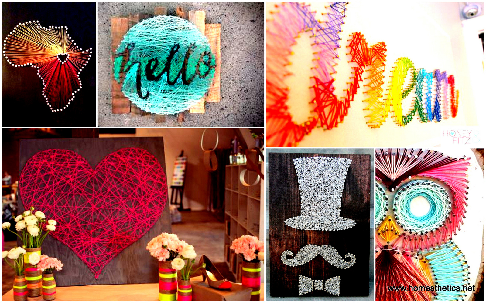 28 diy thread and nails string art projects that will for Home decor arts and crafts ideas