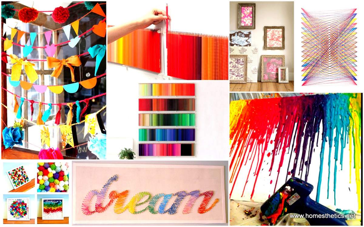 39 simple and spectacular diy wall art projects that will for Art and craft for decoration
