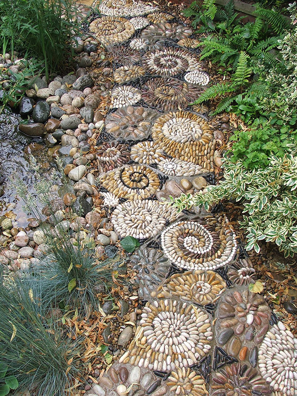 Backyard Landscaping Ideas-15 Magical DIY Pebble Paths ... on Pebble Yard Ideas id=33297