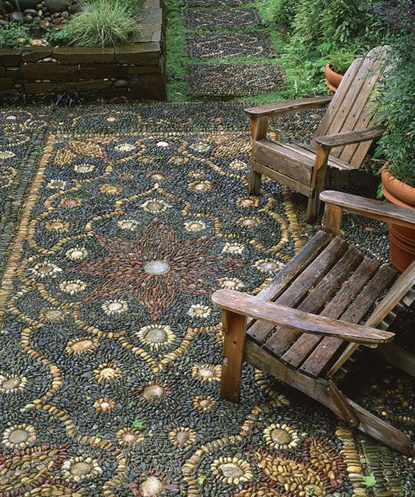 Backyard Landscaping Ideas-15 Magical DIY Pebble Paths ... on Pebble Yard Ideas id=19562