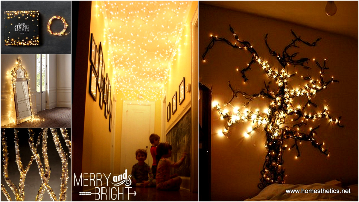 27 incredible diy christmas lights decorating projects for Home decor ideas string lights