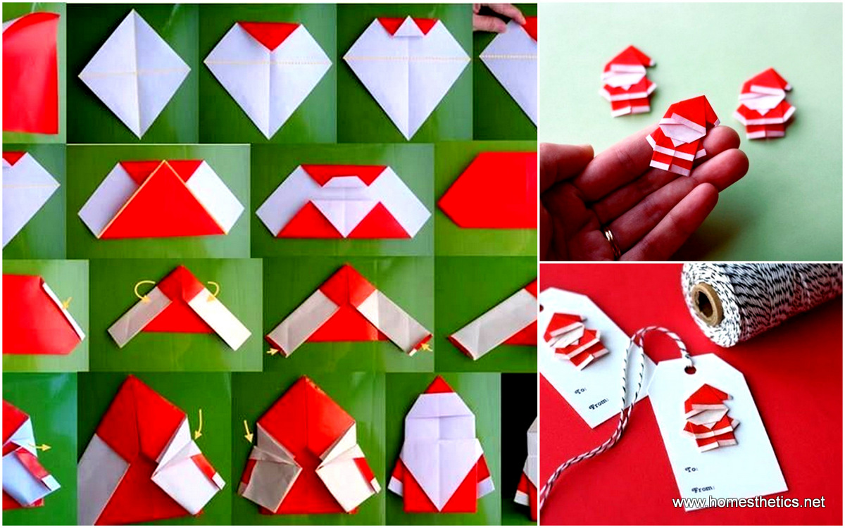 15 creative diy paper crafts tutorials exploding with delicacy and cheerful diy origami santa claus solutioingenieria