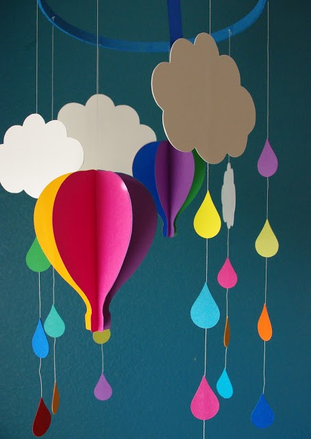 Extraordinary Creative DIY Paper Art Project -Colorful Hot Air Balloon Mobile homesthetics decor (3)