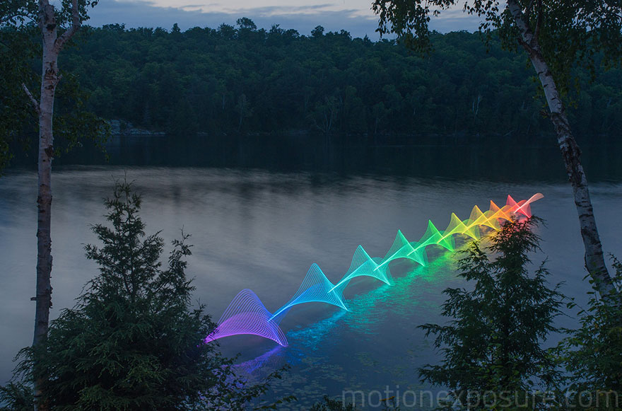 Motion Of Canoers And Kayakers Showcased Through LED Lighting In Long Exposure Photography (1)