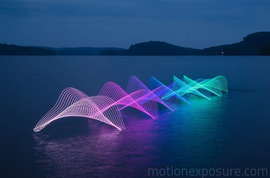 Motion Of Canoers And Kayakers Showcased Through LED Lighting In Long Exposure Photography (2)