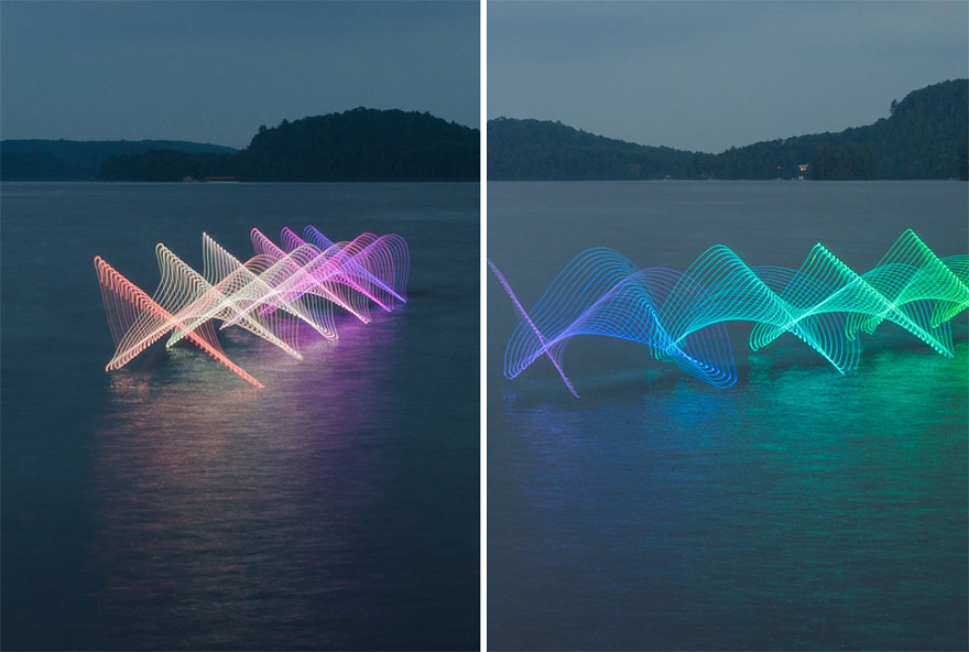 Motion Of Canoers And Kayakers Showcased Through LED Lighting In Long Exposure Photography (4)