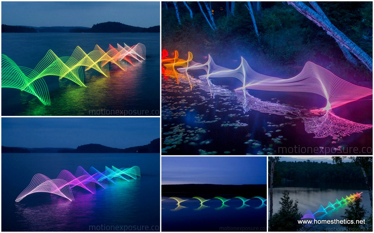 Motion Of Canoers And Kayakers Showcased Through LED Lighting In Long Exposure Photography