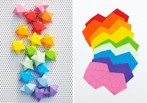 Rainbow DIY Paper Project Torn From The Sky - DIY Fold Lucky Paper Stars homesthetics (29)