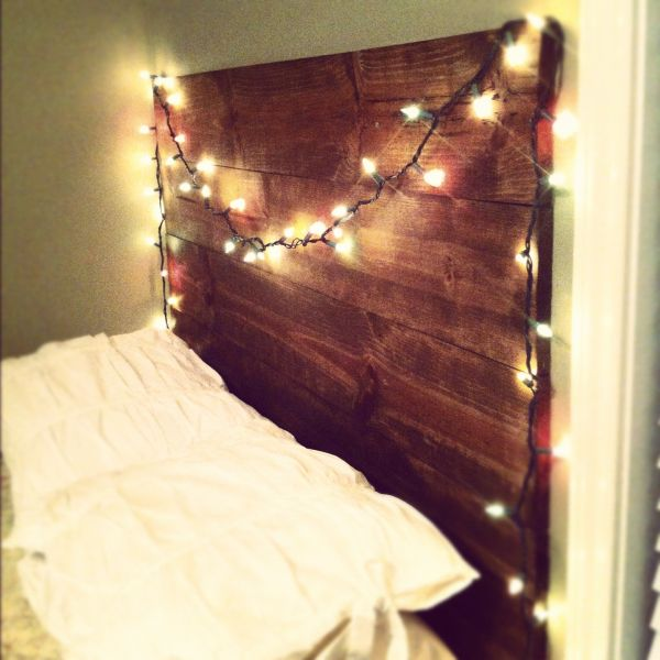 light headboard DIY on wood