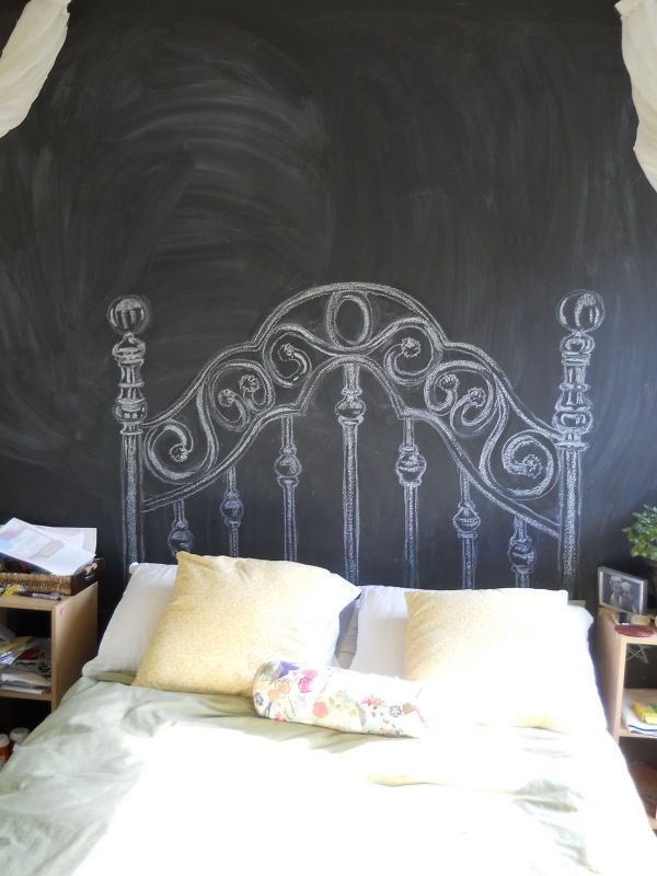 Creative Headboard Ideas Part - 49: CHALKBOARD HEADBOARDS DIY