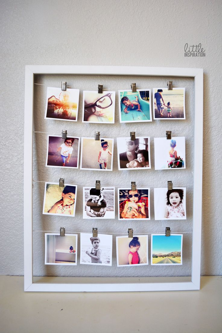 45 creative diy photo display wall art ideas for Picture frame with clips diy