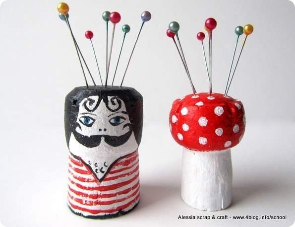 #18 - PIN CUSHIONS CORKS BEAUTIFULLY COLORED