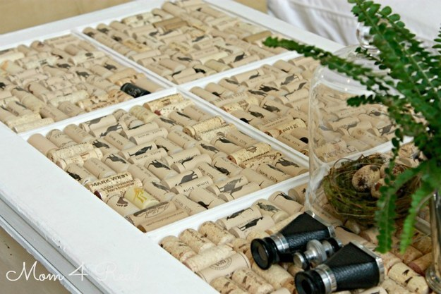 #7 UPCYCLED OLD WINDOW AND WINE CORKS INTO A SUPERB COFFEE TABLE
