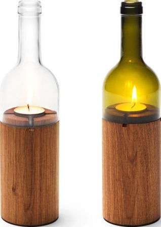 Wood and Glass Votive Candle Wine Bottle Centerpiece