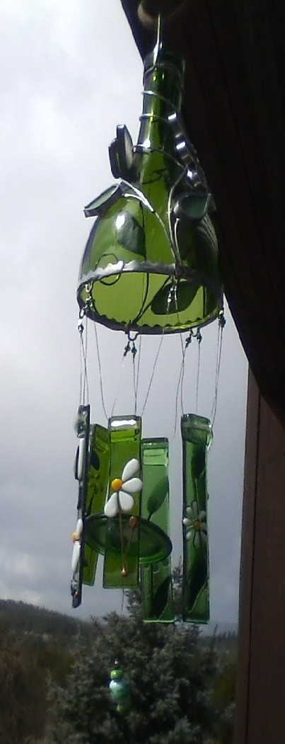 green wine bottle wind chime