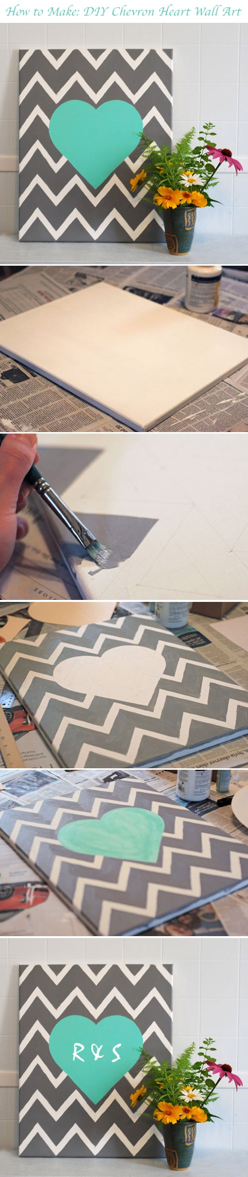 20.DIY CHEVRON HEART WALL ART