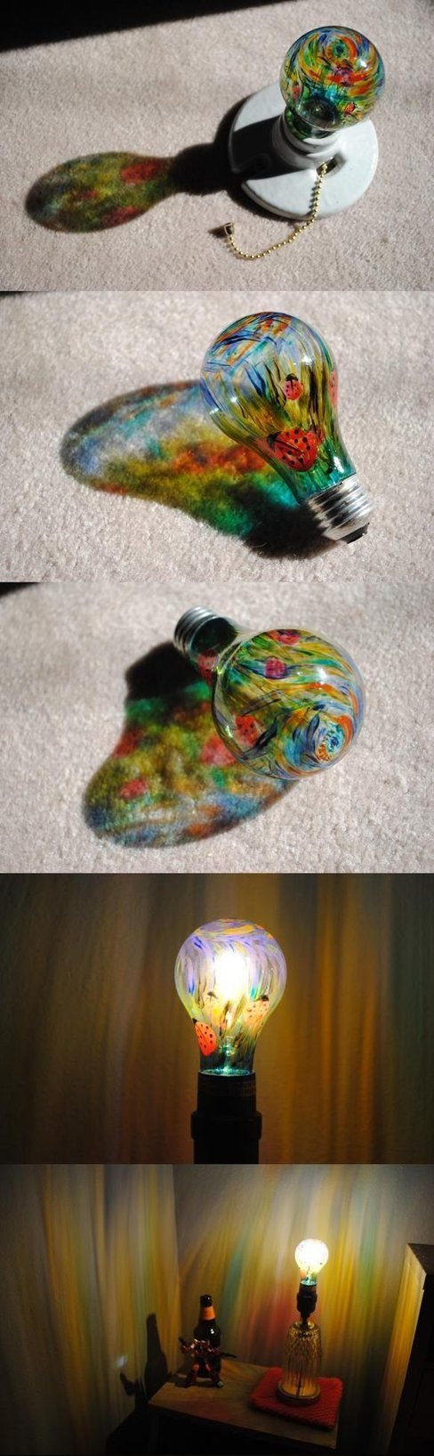 37.PAINT A LIGHT BULB AND SPREAD THE COLORS