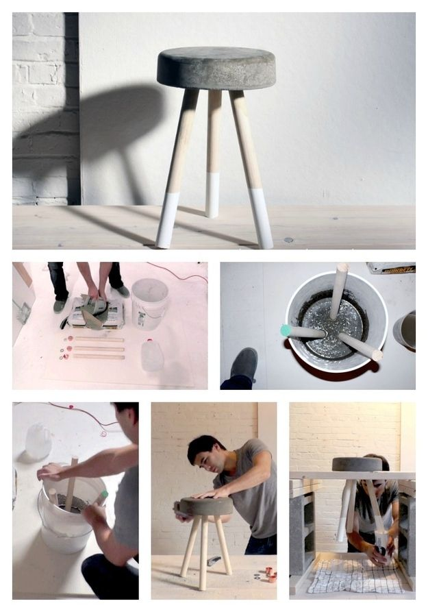 Top 32 diy concrete and cement projects for the crafty side of you put to good use those wooden legs lying around and make yourself a cement stool top 30 diy concrete projects solutioingenieria Gallery