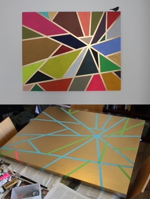 28. GO TAPE CRAZY Top 32 Amazing DIY Paintings For Your Blank Walls (13)