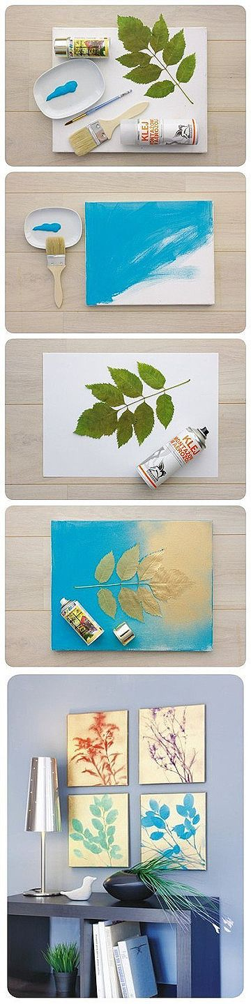 Or leaves and spray paint & Top 31 Amazing DIY Paintings For Your Blank Walls