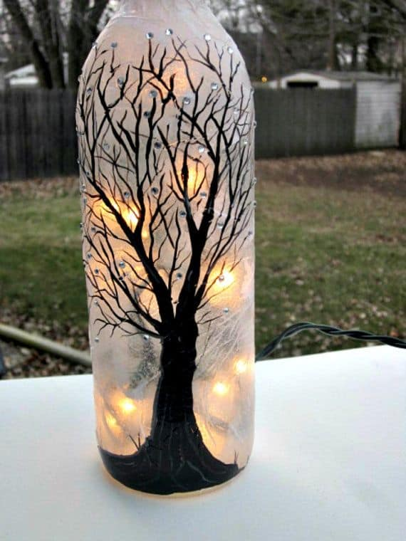 beautiful hand painted glass bottle