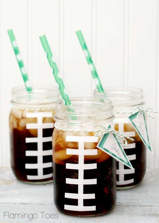 FOOTBALL CUPS Mason Jar Crafts
