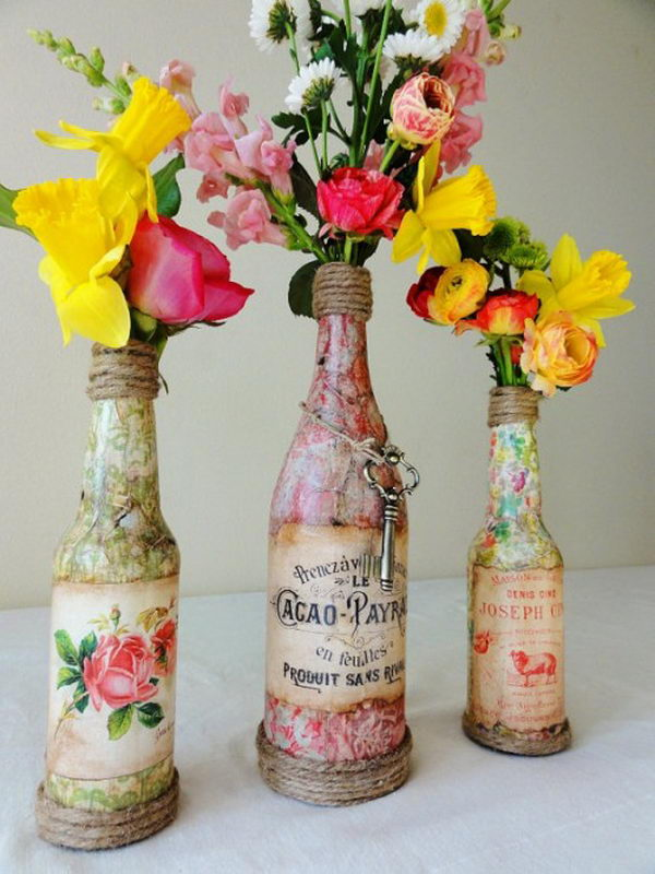 Upcycling Inspiration Pack-Insanely Beautiful DIY Wine Bottle Centerpieces That You Should Try homesthetics decor (1)